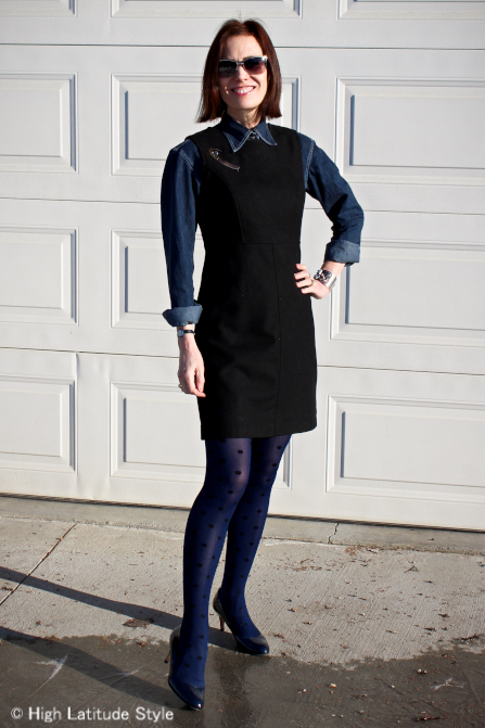 jumper and denim shirt work outfit