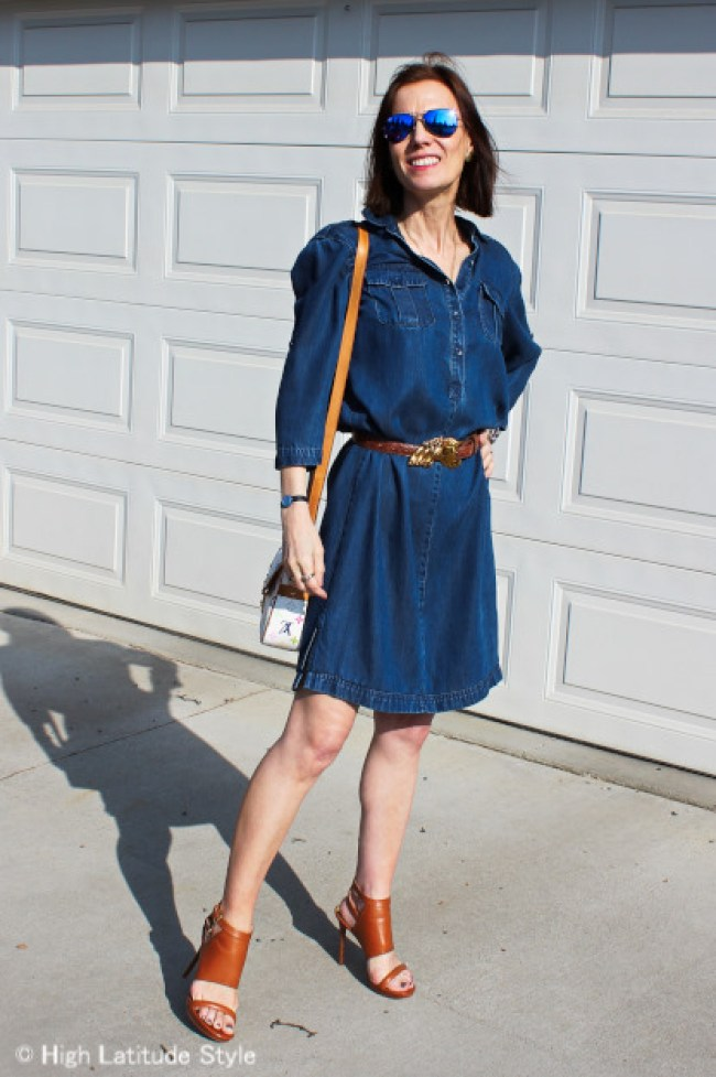 over 50 years old woman in denim dress with cool looking heels