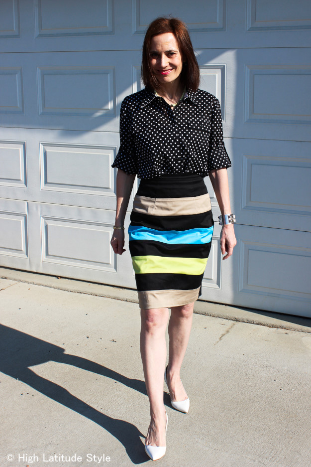 #fashionover50 midlife woman walking in a custom made skirt