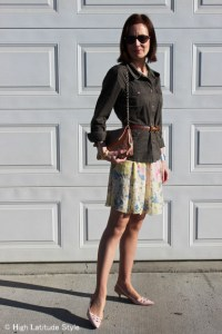 yellow pastel floral skirt with blush pointy toe slingbacks, Chanel bag, utility jacket and belt