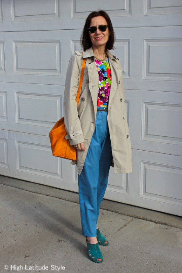 #styleover40 Floral cardigan worn as top with leather pants
