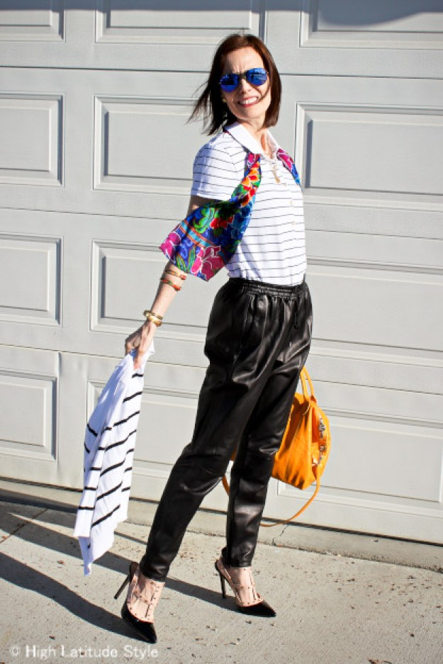 midlife blogger in leather jogging pants