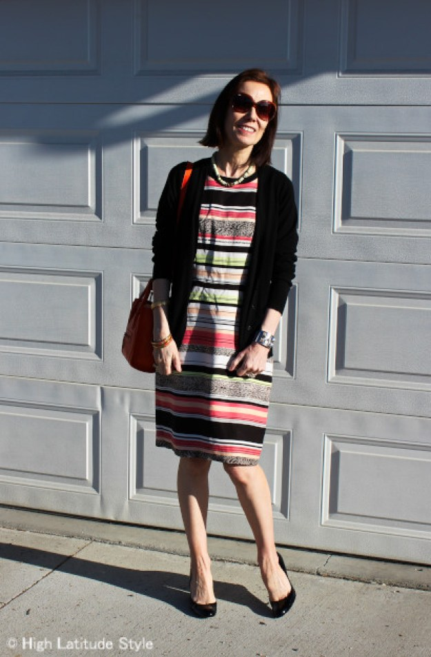 striped dress with wedge heels
