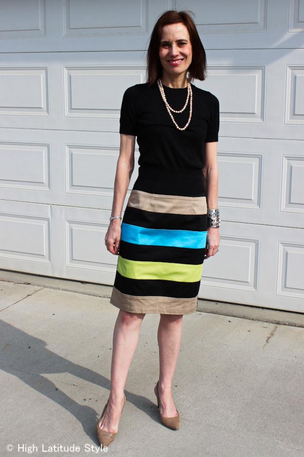 #advancedstyle woman in custom made skirt