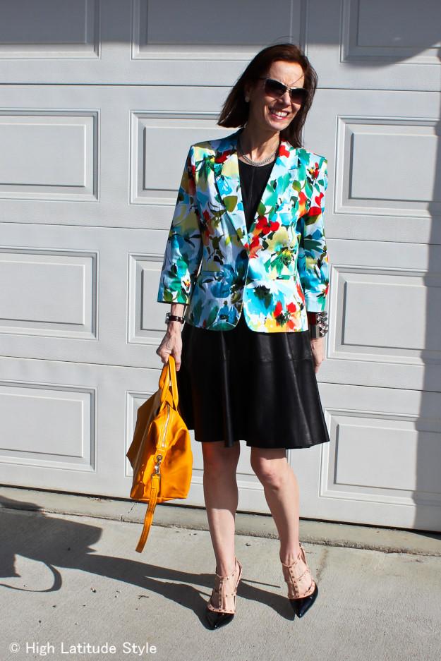 #floralBlazer #Fit-N-flareLeatherDress #pliageBag http://www.highlatitudestyle.com
