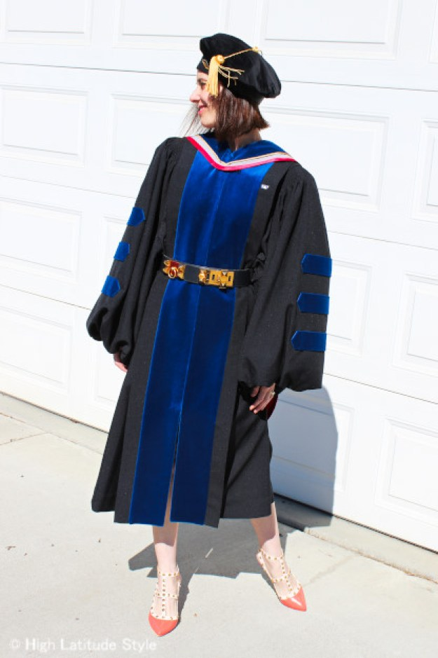 fashion over 40 woman in doctoral gown