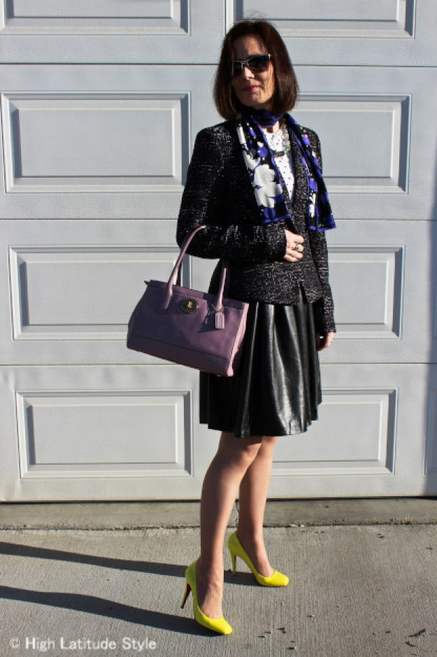#styleover40 woman in posh work outfit with neon pumps