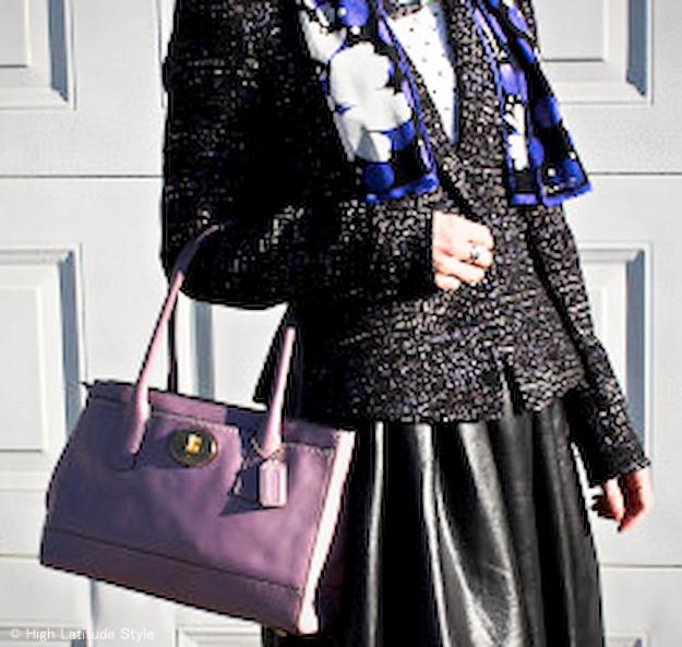 purple print Anne Klein silk scarf