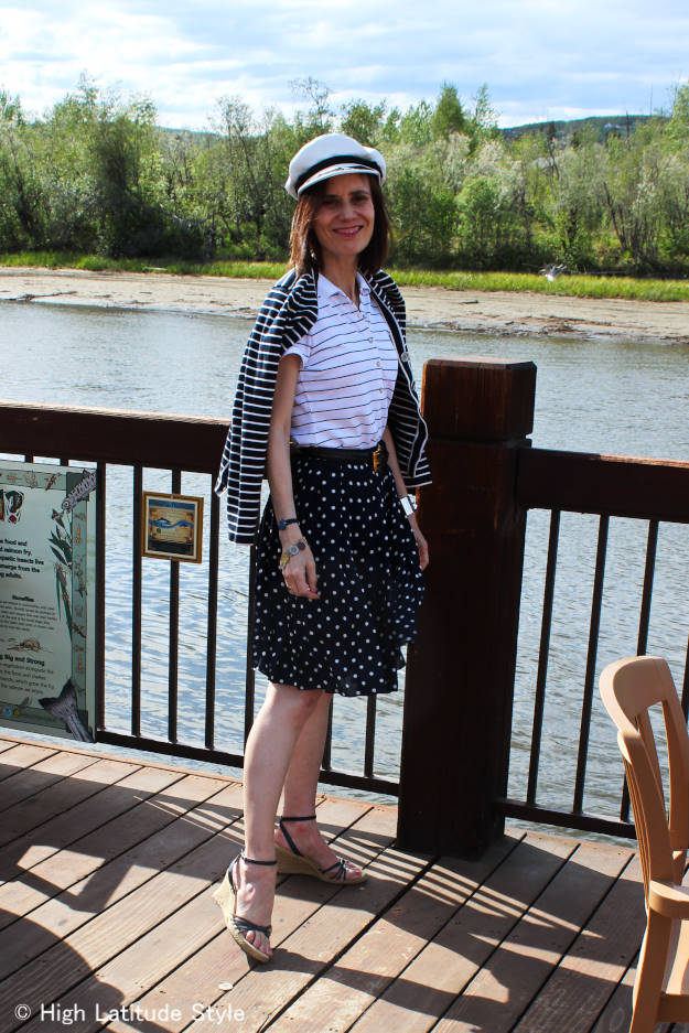 #fashionover40 outfit for dinning out on the river in summerin nautical blue and white with stripes