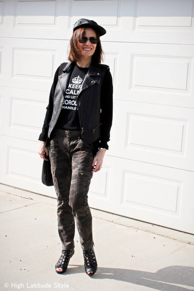#fashionover40 woman in cargo pants and 50% off leather motorcycle vest