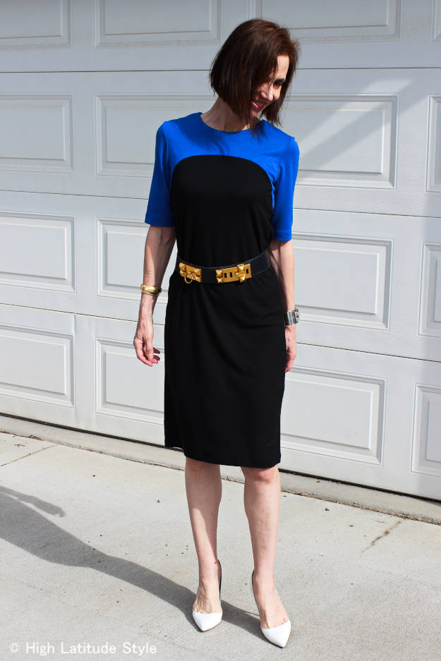 #fashionover50 midlife woman looking posh in a Ronen Chen jersey dress