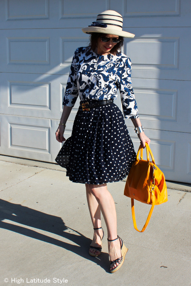 #styleover40 fashion blogger Nicole of  of High Latitude Style in cardigan with polka dot skirt