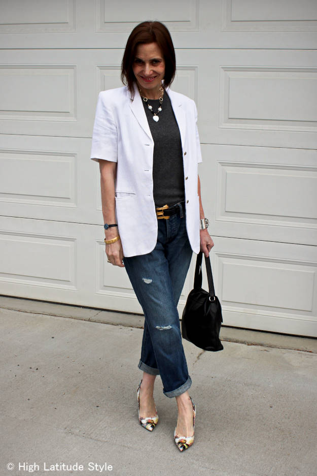 midlife fashion blogger looking posh chic in distressed BF jeans