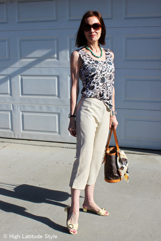 #fashionover40 leather Capri with floral Print Top