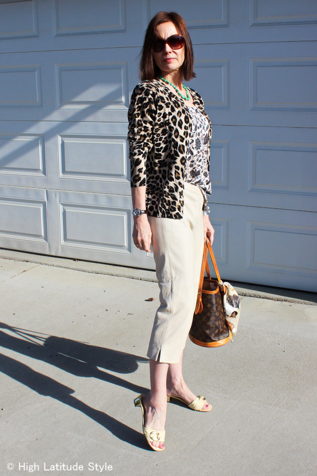 #fashionover40 leopard Print Cardigan and Capri worn north of 60 degree north