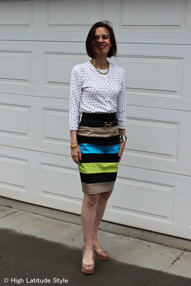 #styleover40 woman in polka dot cardigan