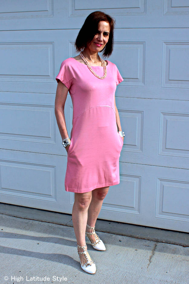 #wedding #fashionover50 civil wedding guest in pink jersey summer dress with flats