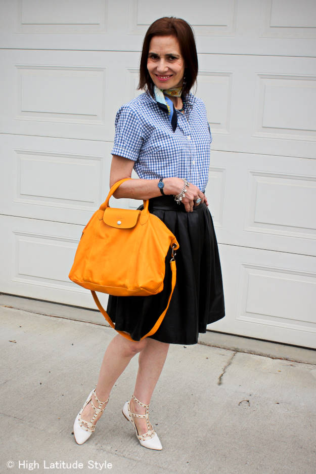 #fashionover40 styling a full skirt and gingham shirt in a mature, but youthful way
