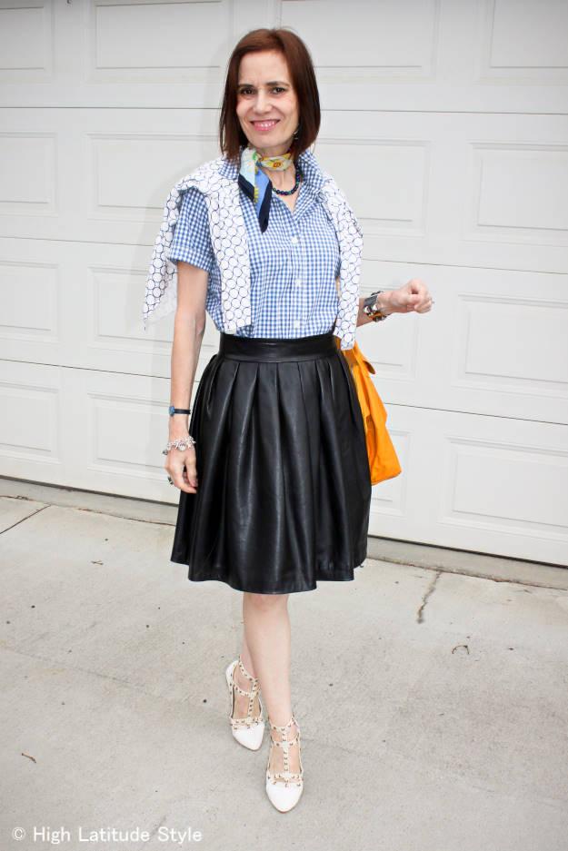 Leather Skirt fashion over 40 High Latitude Style