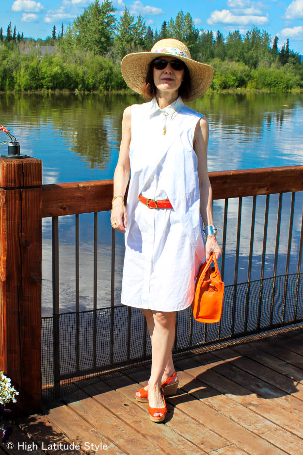 #fashionover50 White resort style designer dress with straw hat
