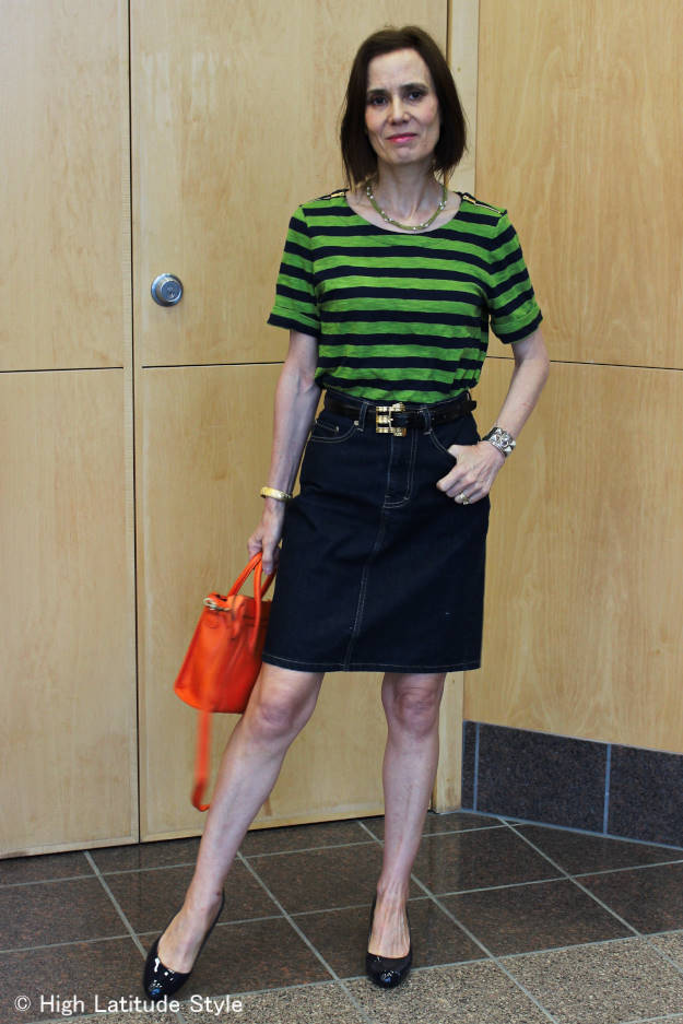 midlife style blogger in classics with a zipper twist for Casual Friday