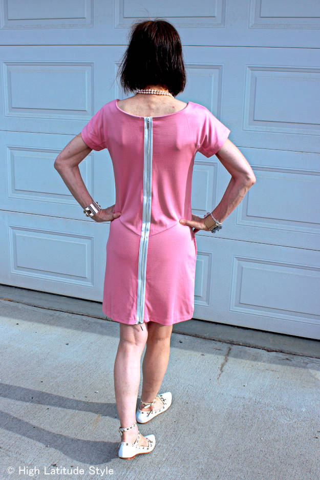 pink jersey dress with sexy zipper