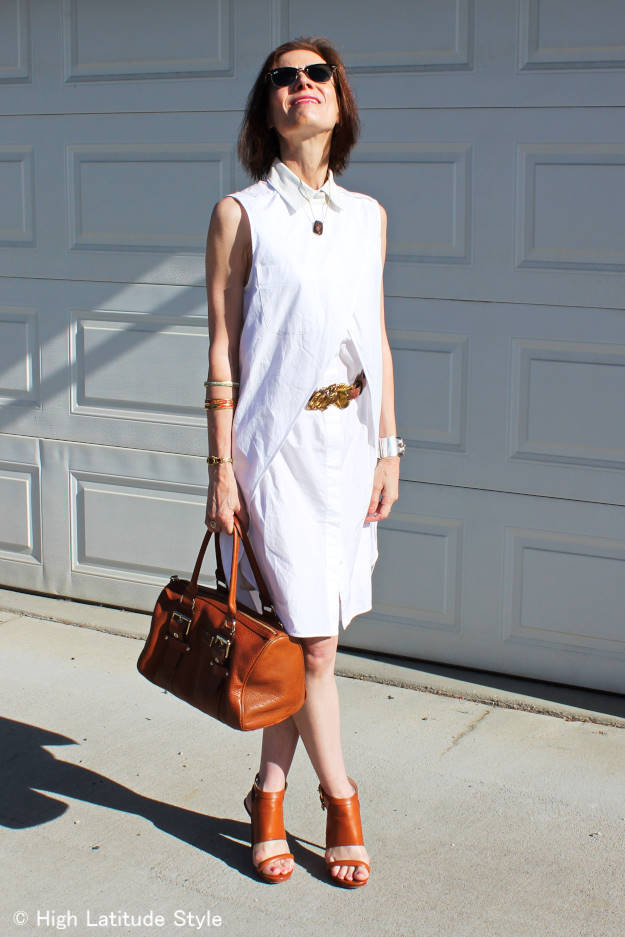 over 50 years old fashion blogger in white Alexander Wang dress