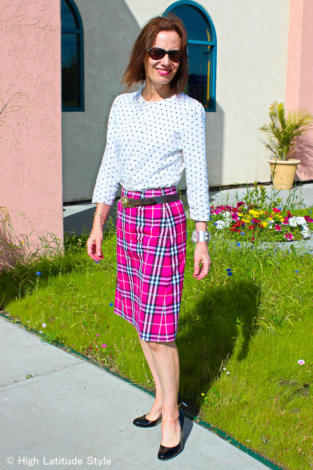 #plaidskirt #polkadots older woman in a plaid skirt with polka dot top