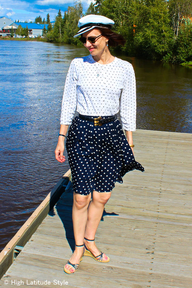 fashion blogger   in polka dot Skirt Greek Sailor Cap