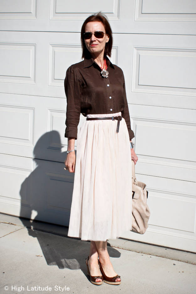 High Latitude Style blogger in olive shirt and mesh skirt