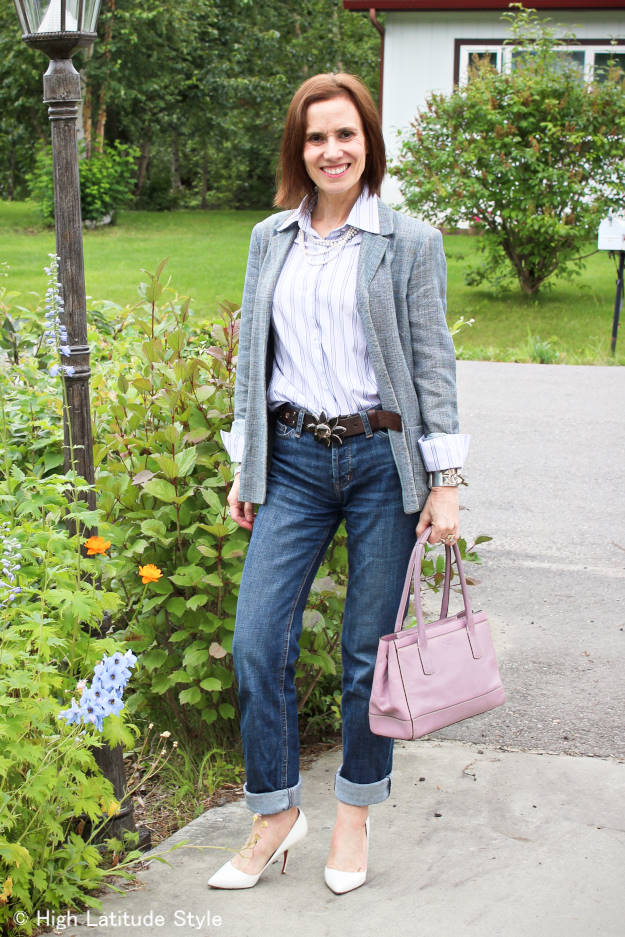 #styleover50 mature woman wearing boyfriends in a business casual style