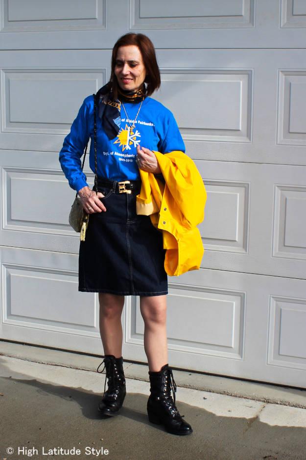 University of Alaska Fairbanks faculty in yellow HH-men's Rain coat and blue skirt