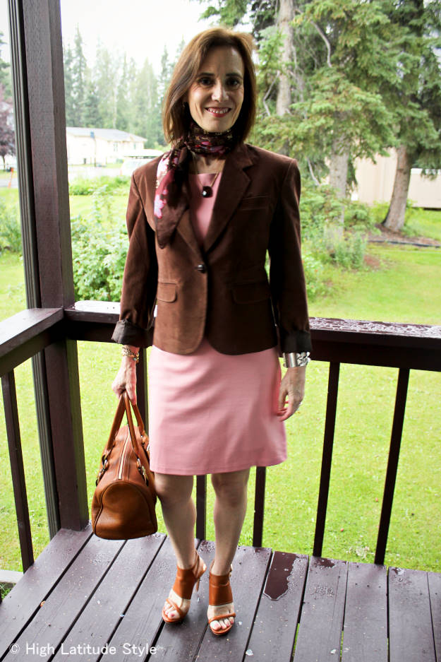 style book author in fitted dress with blazer summer office outfit
