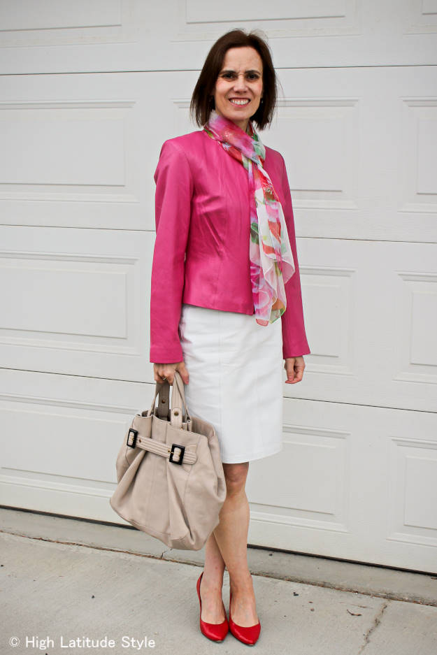 style over 40 woman wearing pink