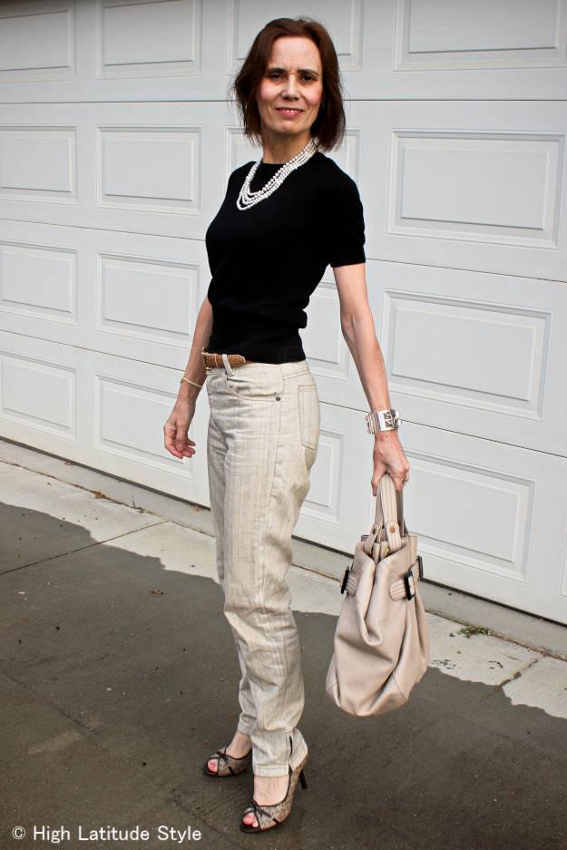 midlife Alaskan blogger in posh business casual look