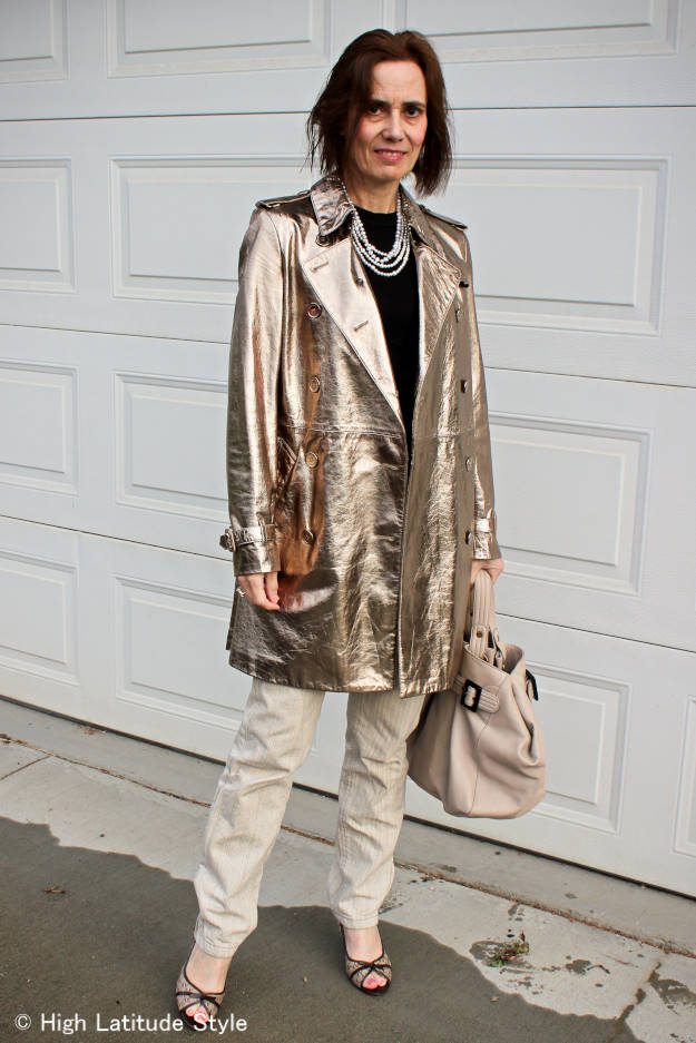 street style blogger in golden Burberry leather coat