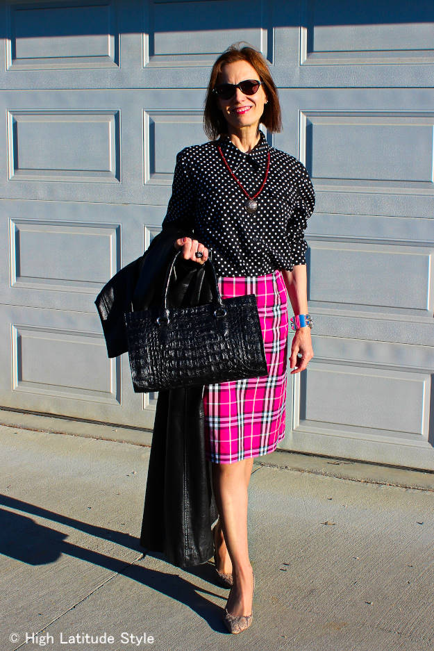 plaid skirt with polka dot blouse office look