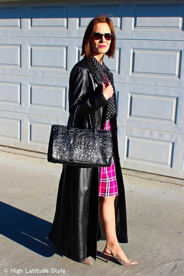 #longleathercoat #burberryskirt #fashionafter40 #highlatitudestyle http://www.highlatitudestyle.com