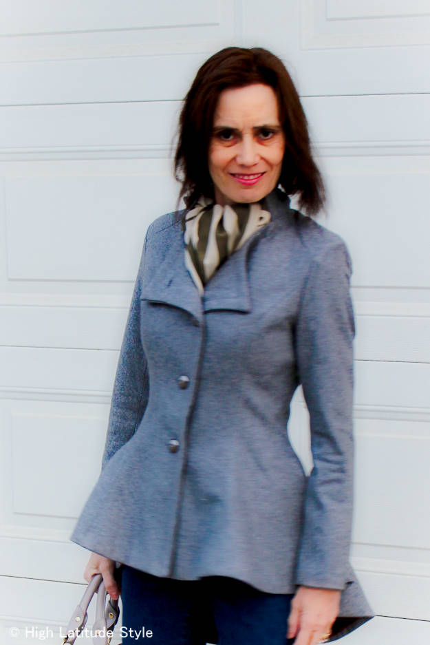 #fashionover50 woman in asymmetric blazer with jeans