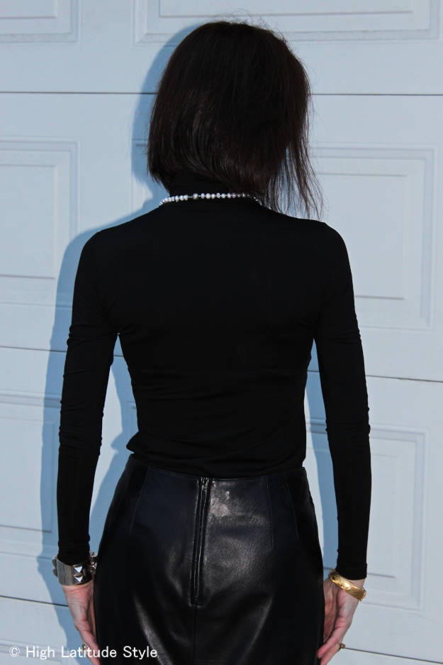 back view of look with long sleeve turtleneck top
