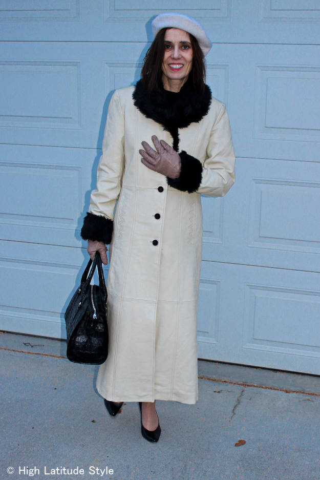 over 50 years old woman in classic layering top under a coat
