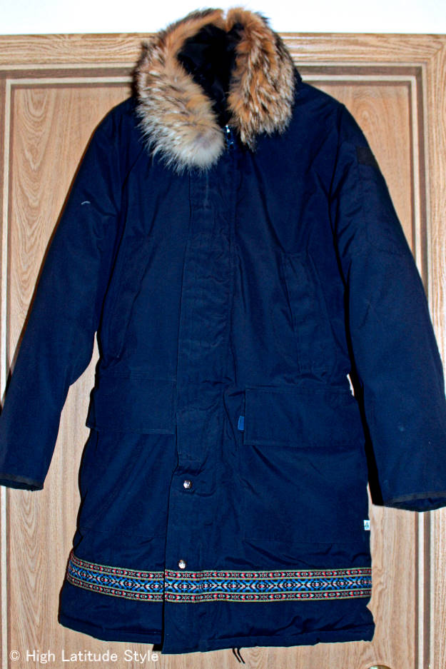 down coat with hidden down compartments