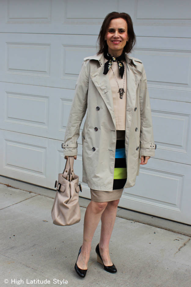 style influencer in trench coat