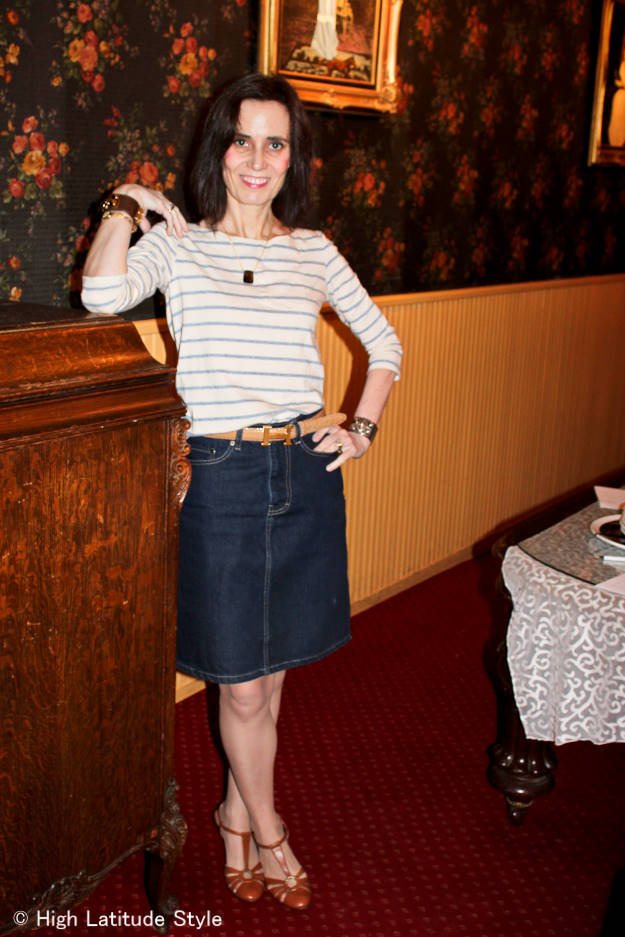 #MarineLayer #styleover50 mature woman looking great in a denim weekend outfit