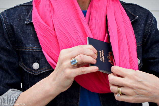 details of the clutch purse that can be turned into an infinity scarf