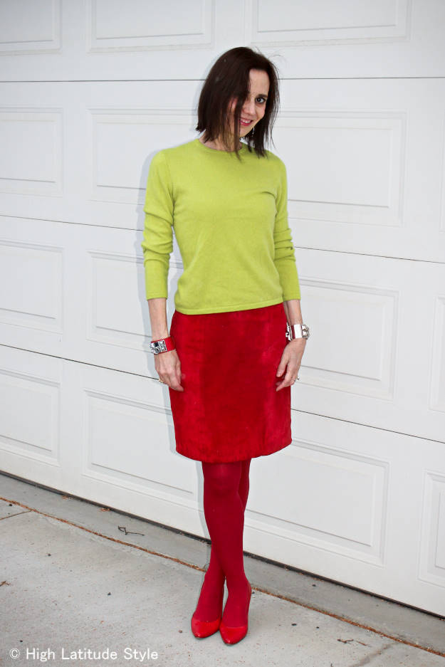 mature woman wearing color blocked office outfit