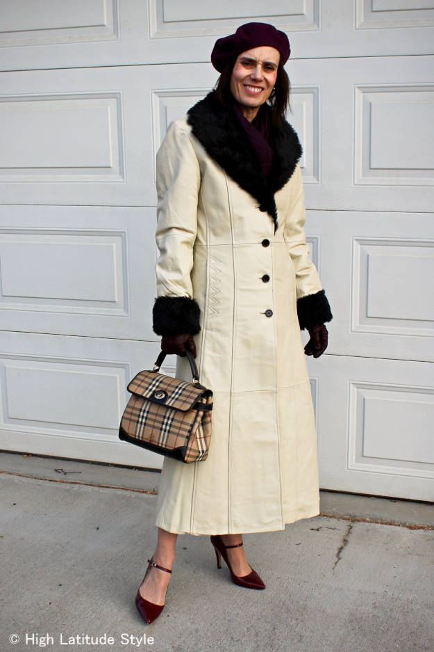 #HighLatitudeStyle Alaskan woman donning a long oyster leather coat with faux fur