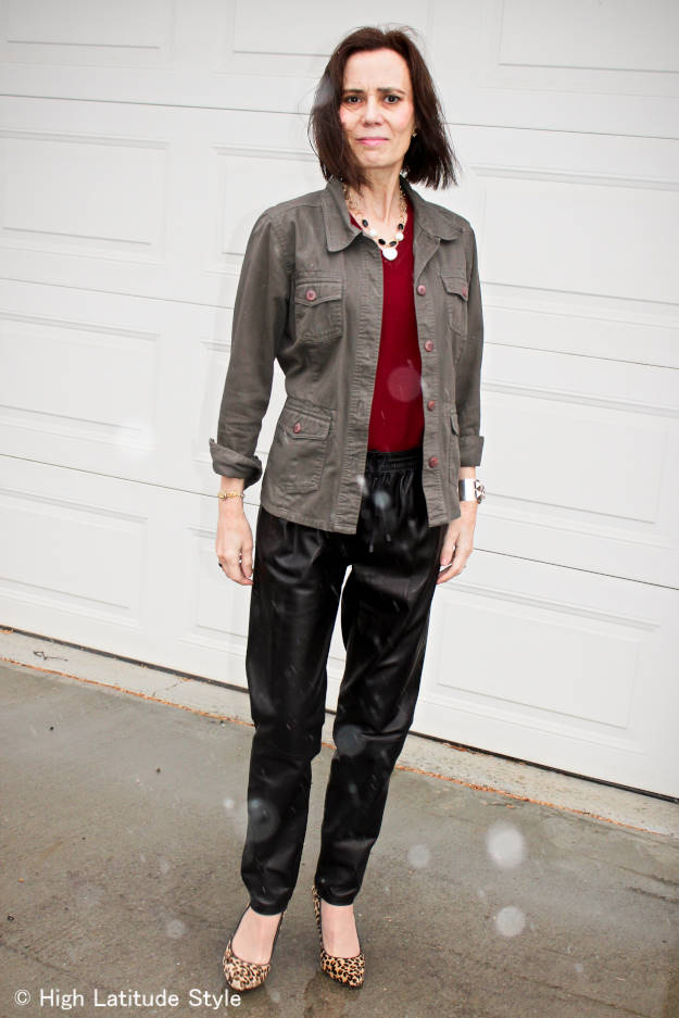 #maturestyle woman in weekend style with leather joggers and utility jacket