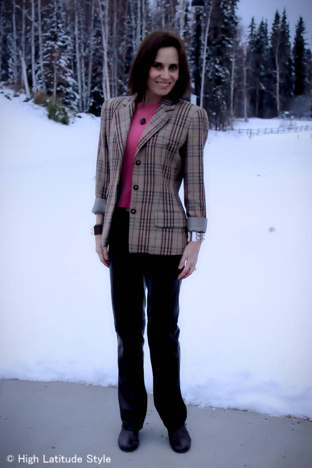 #over40style #menswear women in unmatched suit of plaid blazer and pants