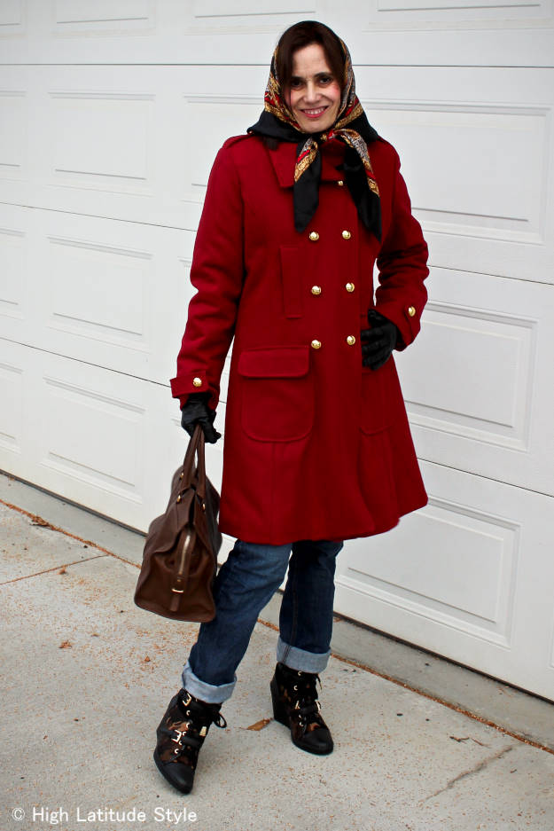 style book author in peacoat with head scarf and jeans